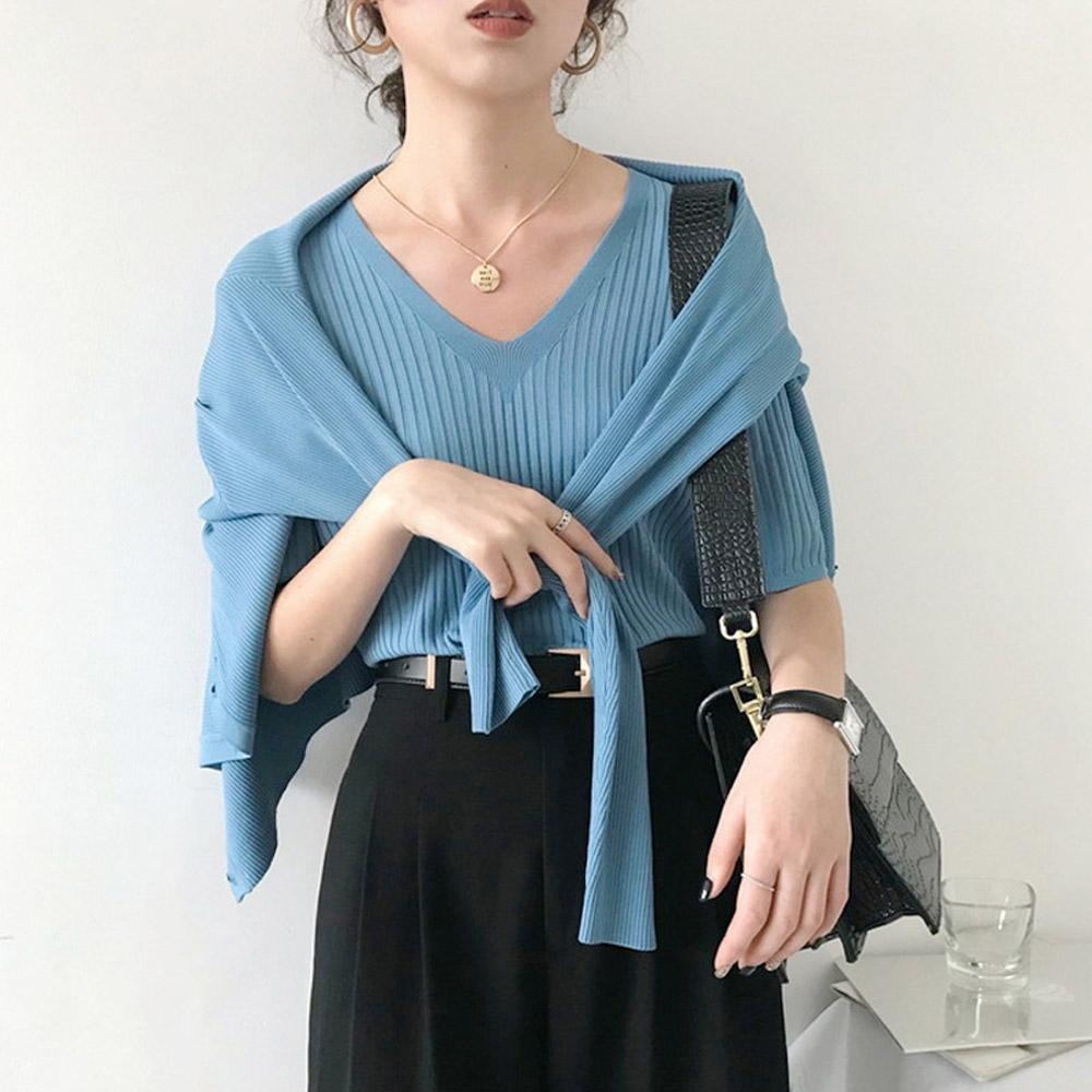 ALLK 歐楷 超彈力壓紋針織上衣 共8色(尺寸F 任選) (霧藍色)