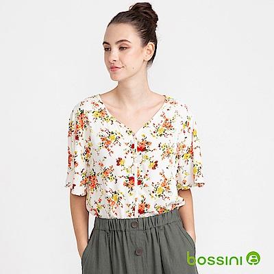 bossini女裝-V領短袖印花上衣01白色