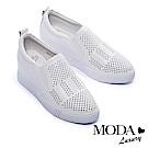 休閒鞋 MODA Luxury 個性鉚釘沖孔全真皮內增高厚底休閒鞋-白