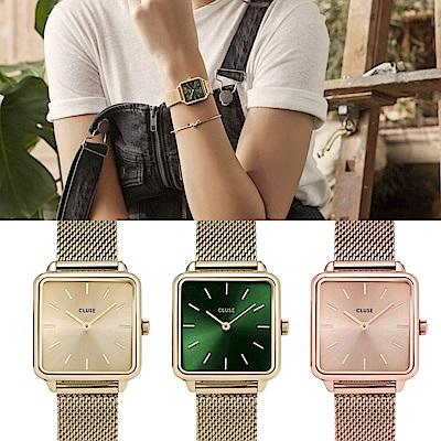 CLUSE 品牌經典暢銷方框腕錶三色選(原價$4800)-28.5mm