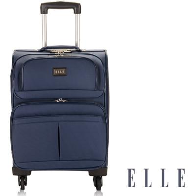 福利品 ELLE 20吋高單寧耐磨商務布箱- 優雅藍