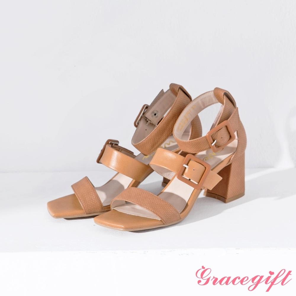 Grace gift X Wei-聯名雙寬帶方釦繞踝粗跟涼鞋 棕