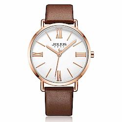 JULIUS聚利時 經典美學簡約時尚皮錶帶腕錶-咖啡色/40mm