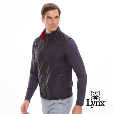 【Lynx Golf】男款雙面穿Fleece風衣布無袖背心-黑色/暗紅色