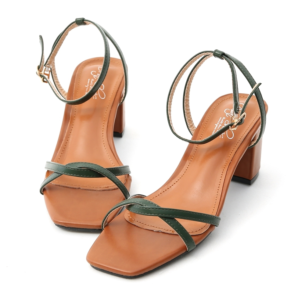 D+AF 摩登魅力.交叉線條撞色高跟涼鞋*綠