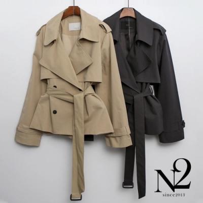 外套 正韓經典雙排釦綁帶短版風衣外套(墨綠)N2