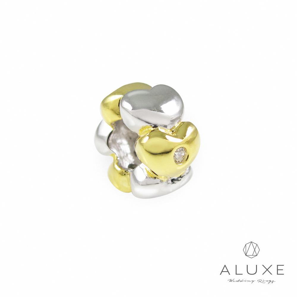 ALUXE亞立詩 Charming系列 925純銀珠飾-雙色 愛心 Double color heart