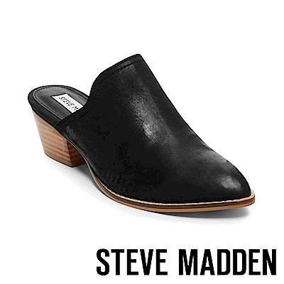 STEVE MADDEN-GENIE素面尖頭粗跟穆勒鞋-黑色