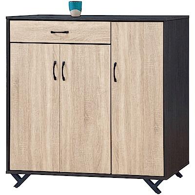 綠活居 卡斯4尺三門單抽鞋櫃/收納櫃(二色)-120x40x122cm免組