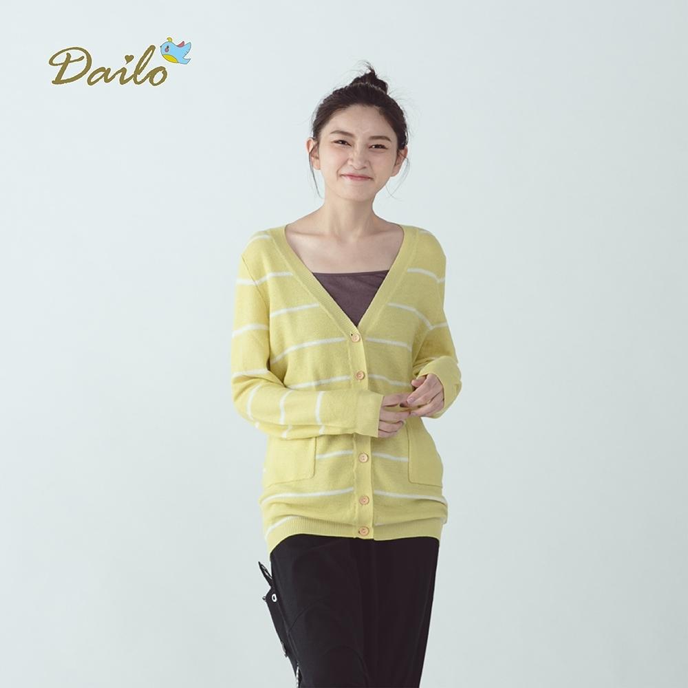 【Dailo】小木釦條紋長袖-針織衫外套(二色)
