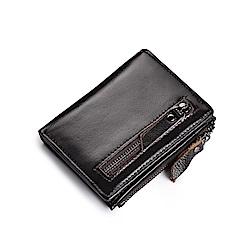 JINBAOLAI   GT0403BR復古拉鍊頭層牛皮附零錢包皮夾錢包咖啡色
