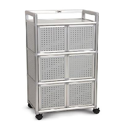 AS-吉利2尺鋁合金六門櫃-黑花格-64.7x50.8x115.3cm(DIY)