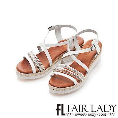 Fair Lady PORRONET 交叉繞帶厚底楔型涼鞋 白
