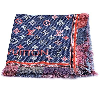 LV M71398 Pop Monogram雙面彩色織花純棉披巾/圍巾(牛仔藍)