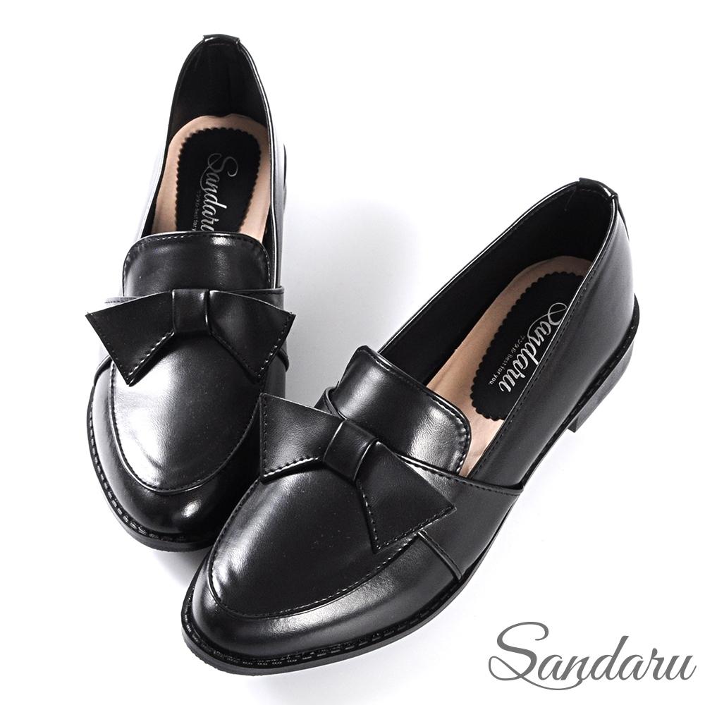 山打努SANDARU-小皮鞋 日系可愛蝶結尖頭低跟鞋-黑
