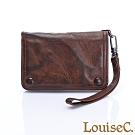LouiseC.  復古個性牛皮皮夾(附手腕帶)-復古咖 BSYP-5013G-03