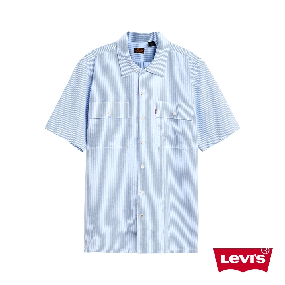 Levis 男款 短袖工裝襯衫 滑板系列 寬鬆休閒版型 復古大口袋設計