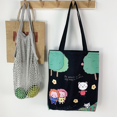 【素包包】森林玩耍日系手提購物百搭側背袋(2色任選)