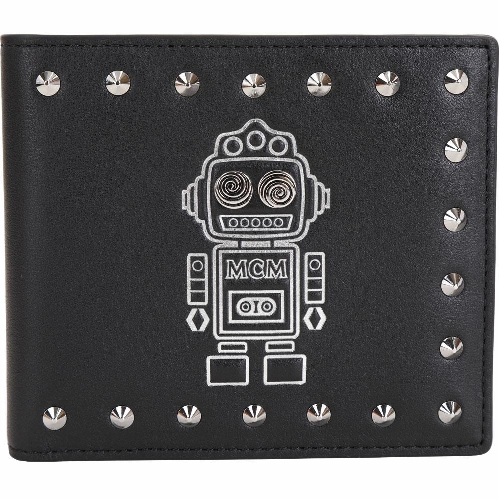 MCM Roboter 機器人鉚釘裝飾牛皮對折短夾(黑色)