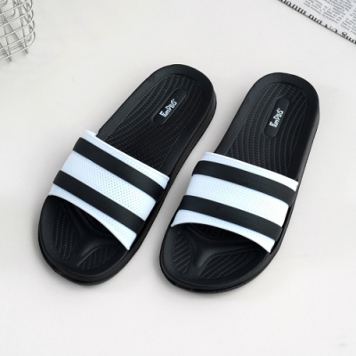 Fun Plus+ 潮流百搭●透氣線條中性拖鞋-黑色