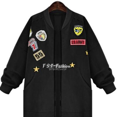 【韓國K.W.】美式徽章歐風刺繡寬鬆帥氣外套-1色