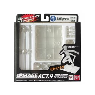 日本BANDAI萬代模型展示台座支架ROBOT魂STAGE ACT.4三入for Humanoid透明(可無限連接)人型地台展示架