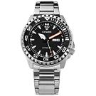 CITIZEN 機械錶 自動上鍊 礦石強化玻璃 日期星期 不鏽鋼手錶-黑色/46mm