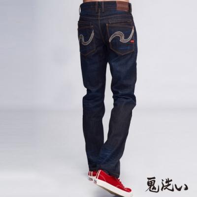 鬼洗 BLUE WAY-後口袋繡花低腰直筒褲
