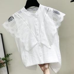 SQUA 鏤空蕾絲拼接排扣背心上衣-二色-(S~L)