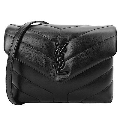 YSL Saint Laurent 黑LOGO牛皮Y字縫線翻小斜背包(黑)