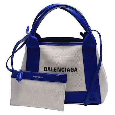 BALENCIAGA NAVY系列帆布X牛皮飾邊手提/肩背托特包(藍)