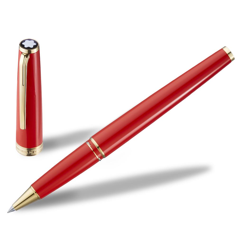 萬寶龍PIX鍍金夾鋼珠筆-紅金色