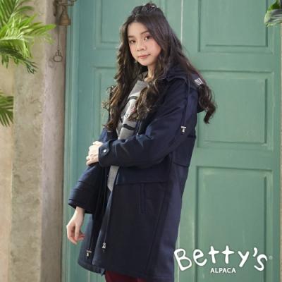 betty's貝蒂思 配色拼接磨毛鋪棉拉鍊大衣(深藍)