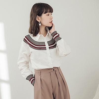 純色拼接條紋針織襯衫-OB大尺碼