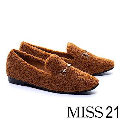 平底鞋 MISS 21 純色泰迪捲毛金屬飾釦平底鞋-咖