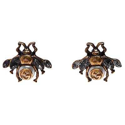 GUCCI 經典GG LOGO蜜蜂造型水晶鑲飾穿式耳環(古銅金)
