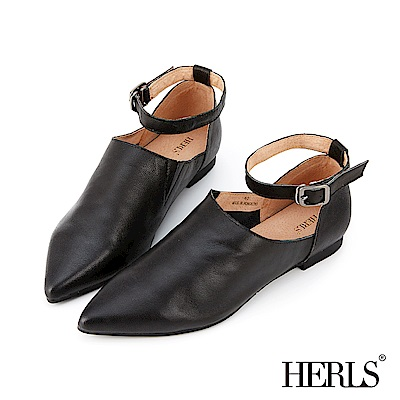 HERLS 全真皮素面兩穿踝帶尖頭平底鞋-黑色