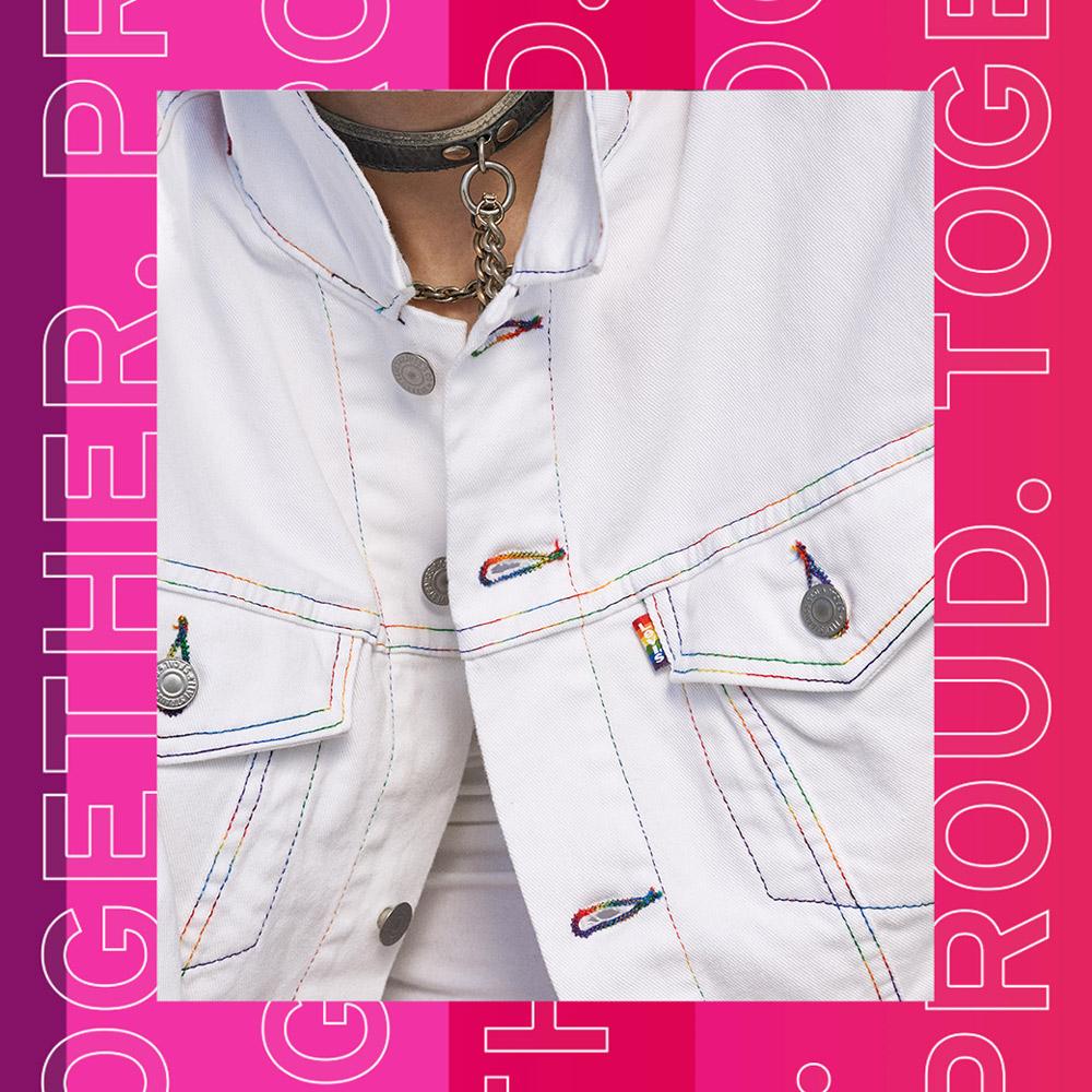 Levis 男女同款 牛仔外套 經典修身版 Pride平權 彩虹翻領 繡線