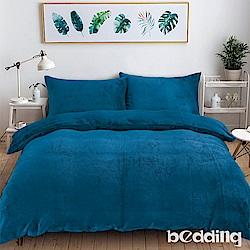 BEDDING-200克波斯絨-單人床包兩用毯被套三件組-初日午夜藍