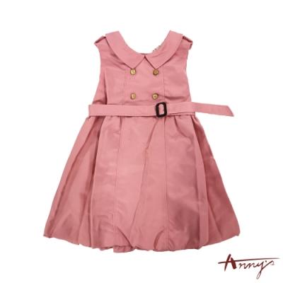 Annys安妮公主-氣質名媛秋冬款金扣腰帶無袖洋裝*7266粉紅