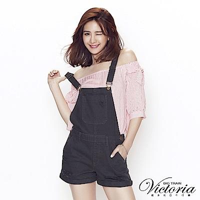 Victoria 純棉吊帶割破短褲-女-軍綠