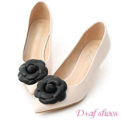 D+AF 古典氣質.立體山茶花尖頭中跟鞋*米