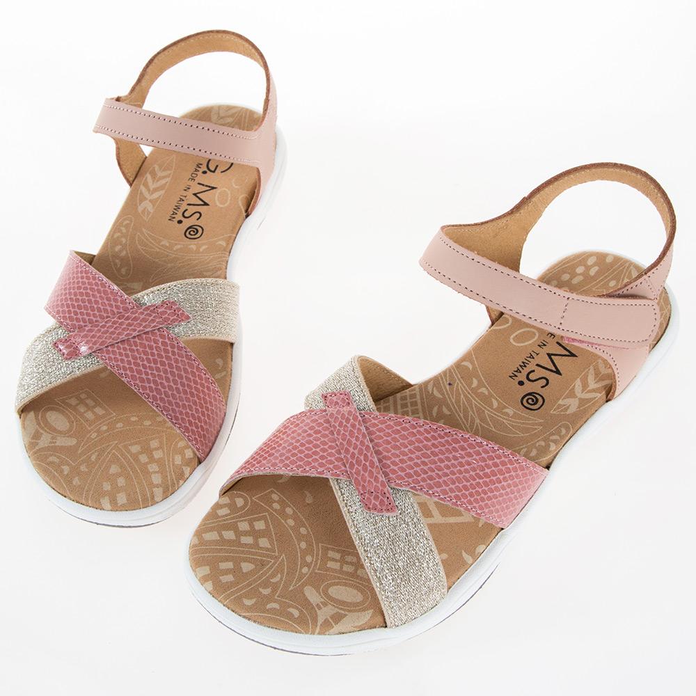 G.Ms. MIT系列-超輕量牛皮交叉休閒厚底涼鞋-粉色