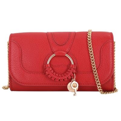 SEE BY CHLOE HANA 編織環牛皮鍊帶長夾/斜背包(紅色)