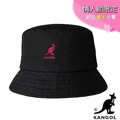 KANGOL-水洗棉質漁夫帽-黑粉袋鼠