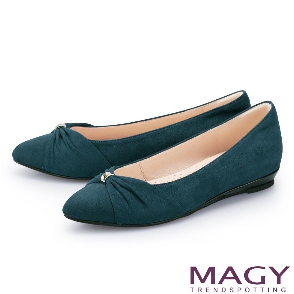 MAGY 抓皺五金絨布尖頭 女 平底鞋 綠色