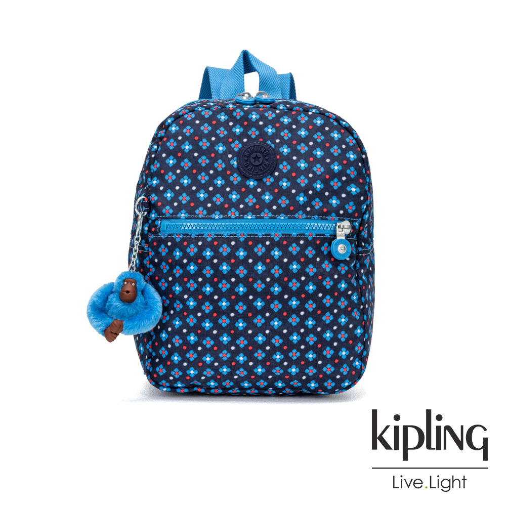 Kipling 復古藍色小花後背包-中-KAPONO