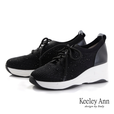Keeley Ann樂活運動風 水鑽透氣拼接休閒鞋(黑色-Ann系列)