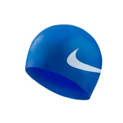 NIKE 成人矽膠泳帽  SWIM 藍白