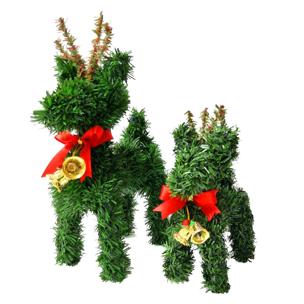 摩達客 超萌桌上型迷你6吋+8吋聖誕小鹿親子組擺飾(兩入組)